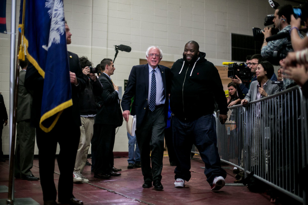 ORANGEBURG, SC - FEBRUARY 26, 2016: Killer Mike introduces Democratic presidential candidate Senator Bernie Sanders at a rally in Orangeburg, South Carolina. CREDIT: Sam Hodgson for The New York Times.