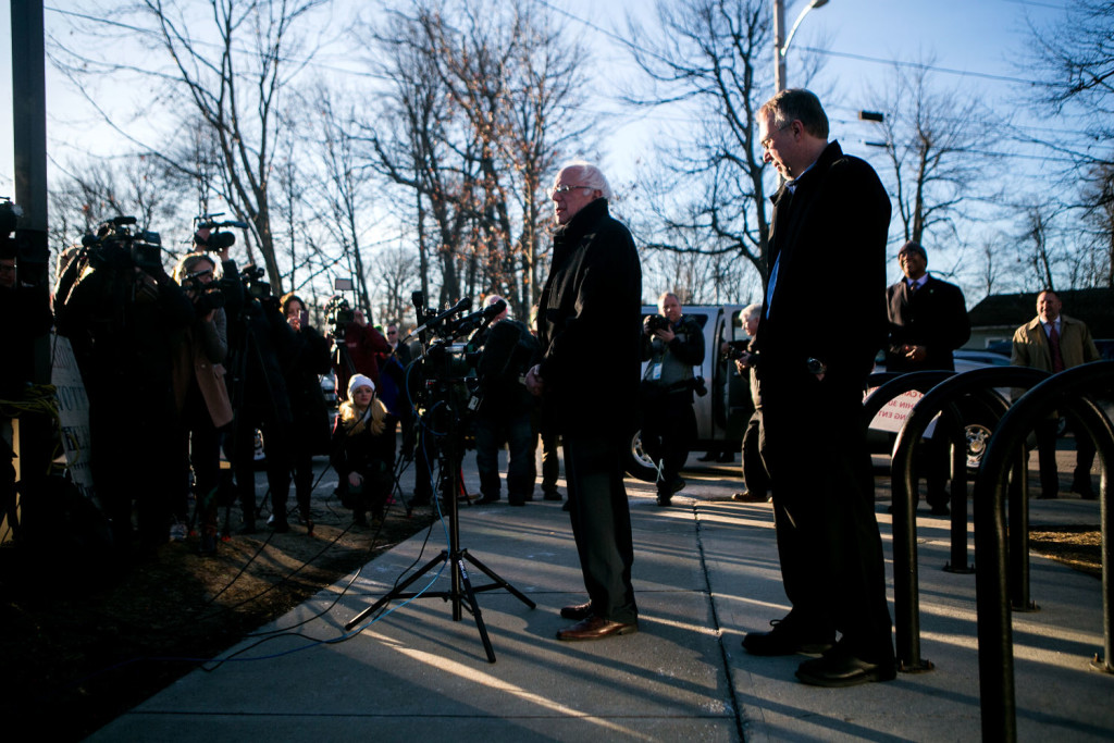 BURLINGTON, VERMONT - MARCH 1, 2016: Democratic presidential candidate Bernie Sanders speaks to reporters after casting his vote in the presidential primary at the Robert Miller Community and Recreation Center in Burlington Vermont. CREDIT: Sam Hodgson for The New York Times.