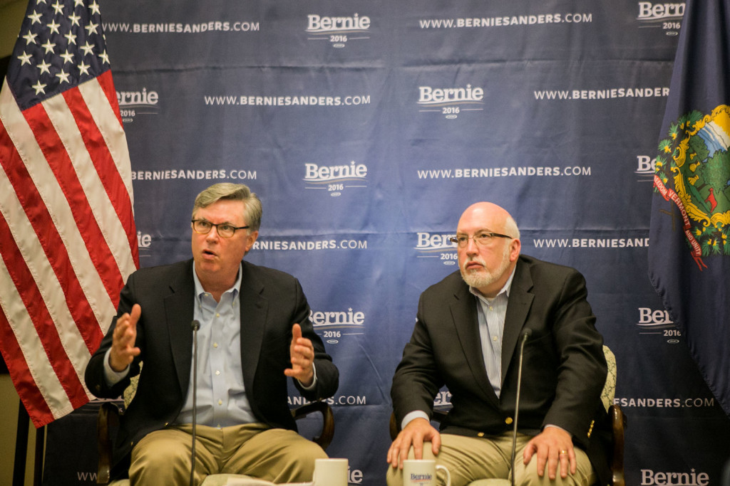 BURLINGTON, VERMONT - MARCH 2, 2016: Democratic presidential candidate Bernie Sanders's advisers Tad Devine, Senior Strategist, and Jeff Weaver, Campaign Manager, hold a press conference about the candidates path forward following Super Tuesday. CREDIT: Sam Hodgson for The New York Times.