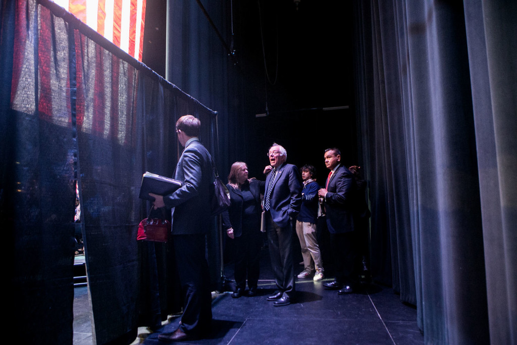 GRAND PRAIRIE, TX - FEBRUARY 27, 2016: Jane Sanders and her husband Democratic presidential candidate Bernie Sanders wait to head on stage at a rally at the Verizon Theatre in Grand Prairie, Texas. CREDIT: Sam Hodgson for The New York Times.